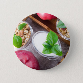 Cereal with walnuts and raisins, yogurt and apples 2 inch round button