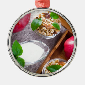 Cereal with walnuts and raisins, yogurt and apples Silver-Colored round ornament