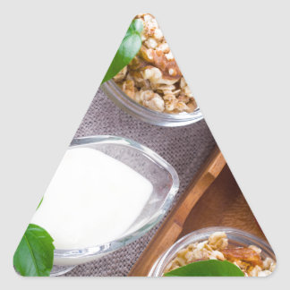 Cereal with walnuts and raisins, yogurt and apples triangle sticker