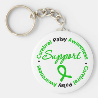 Cerebral Palsy Support Ribbon Basic Round Button Keychain
