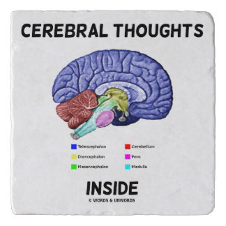 Cerebral Thoughts Inside Thoughtful Brain Humor Trivet