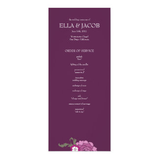 "Ceremony Program // The Plum Bouquet Collection 4"" X 9.25"" Invitation Card"