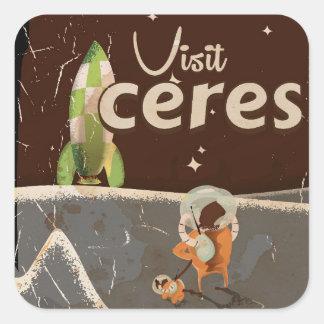 Ceres Dwarf Planet vintage travel poster Square Sticker