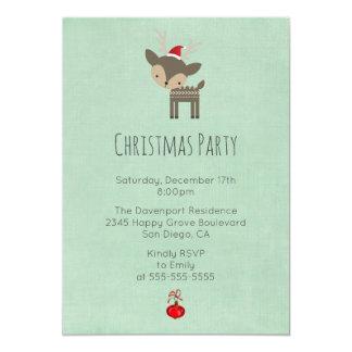 Cerfs communs de Noël à une fête de vacances rouge Carton D'invitation 12,7 Cm X 17,78 Cm
