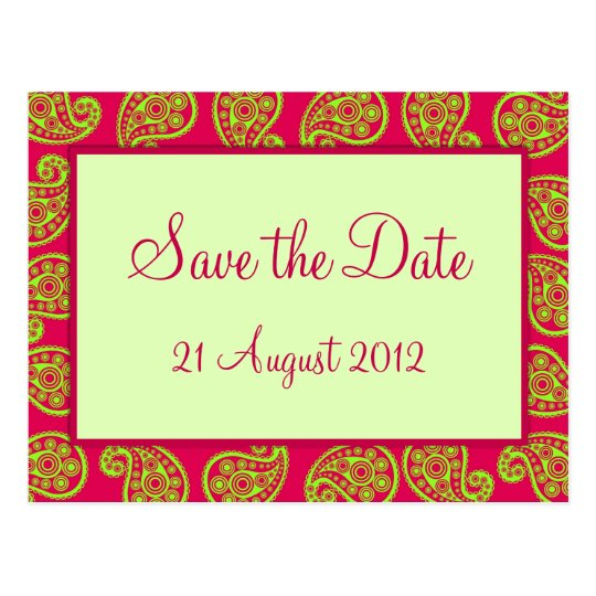 Cerise and Lime Paisley Pattern Save the Date Card