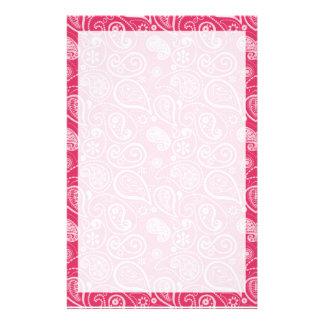 Cerise Pink Paisley; Floral Stationery Design