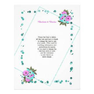 Cerise Pink Turquoise Elegant Flowers Letterhead