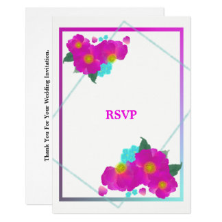 Cerise Pink Turquoise Floral Wedding RSVP Card