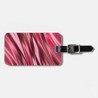 Cerise red satin effect stripes bag tag