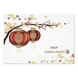 Cerisier rouge d'or Fu RSVP chinois de lanternes Carton D'invitation 8,89 Cm X 12,70 Cm