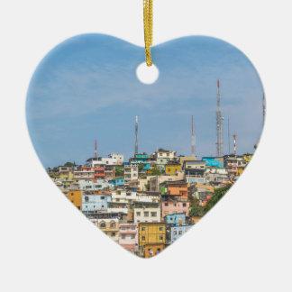 Cerro Santa Ana Guayaquil Ecuador Ceramic Heart Ornament