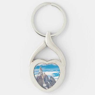Cerro Torre Parque Nacional Los Glaciares Silver-Colored Twisted Heart Keychain