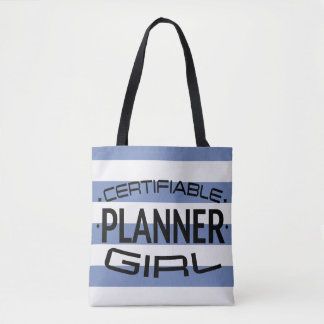 Certifiable Planner Girl Tote with Blue Stripes