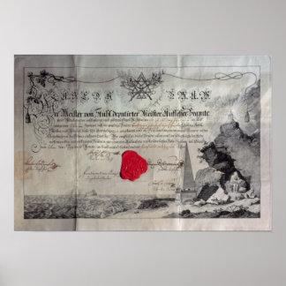 Certificat maçonnique, 1785