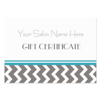 Certificat-prime de salon Chevron gris turquoise Carte De Visite Grand Format