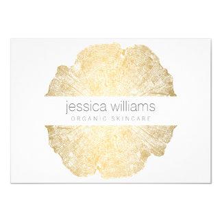 Certificat-prime élégant d'anneau d'arbre d'or de carton d'invitation  11,43 cm x 15,87 cm