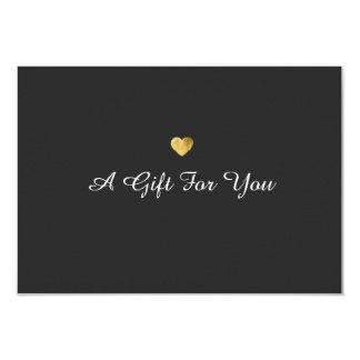 Certificat-prime élégant simple de coeur d'or carton d'invitation 8,89 cm x 12,70 cm