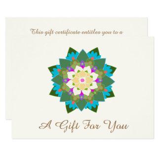 Certificat-prime floral coloré de mandala de Lotus Carton D'invitation 11,43 Cm X 15,87 Cm