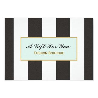 Certificat-prime noir et blanc de boutique de carton d'invitation 8,89 cm x 12,70 cm