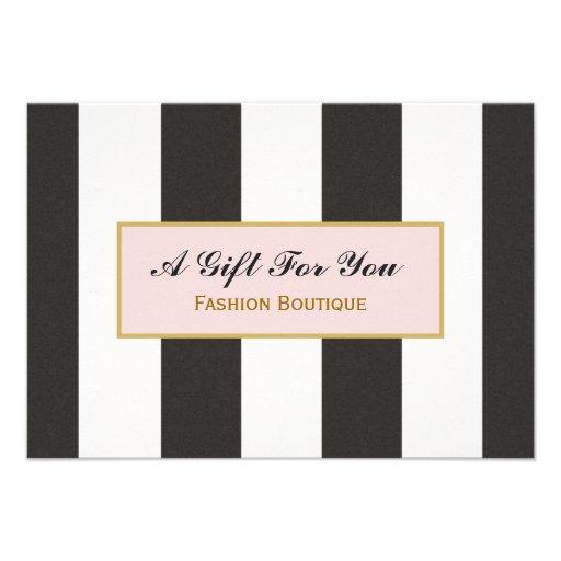 Certificat-prime noir et blanc de boutique de rayu invitation personnalisée