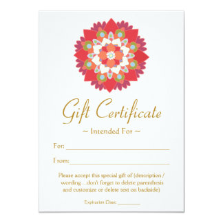 Certificat-prime rouge de fleur de Lotus d'arts Carton D'invitation 11,43 Cm X 15,87 Cm
