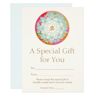 Certificat-prime spirituel de santé de fleur de carton d'invitation  11,43 cm x 15,87 cm