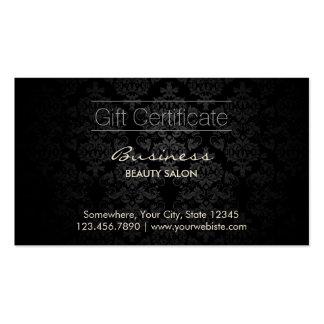 Certificat-primes foncés élégants de salon de carte de visite
