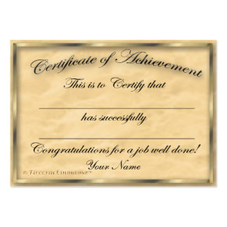 Certificate of Achievement Chubby Card Large Business Card