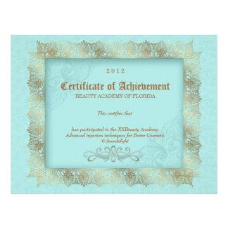 Certificate of Achievement Diploma Beauty Blue Custom Letterhead