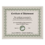 CERTIFICATE OF ACHIEVEMENT POSTER