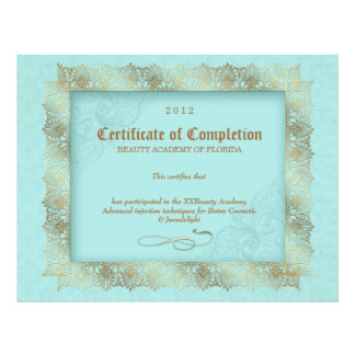Certificate of Completion Diploma Beauty Blue Letterhead