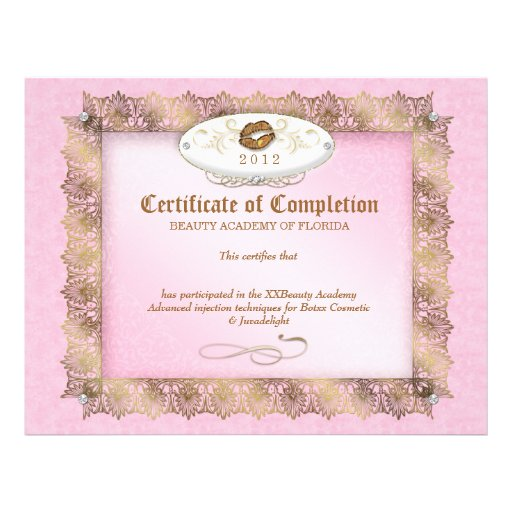 Certificate of Completion Diploma Beauty Makeup Letterhead ...