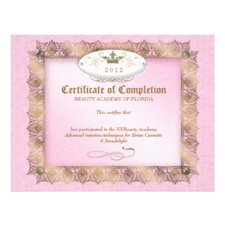 Certificate of Completion Diploma Beauty Pink Letterhead