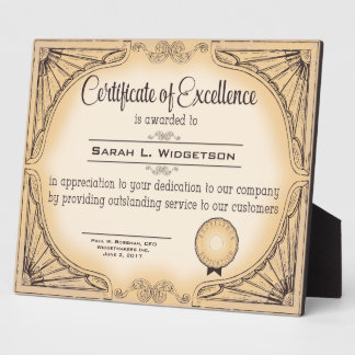 certificate of excellence employee recognition plaque