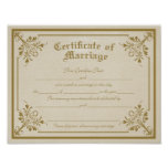 Certificate of Marriage Art Print
