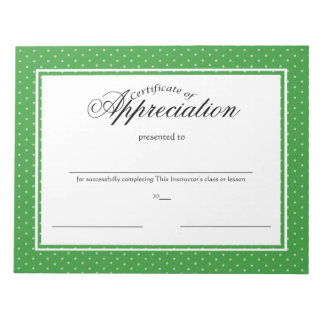 Certificates of Appreciation Notepad
