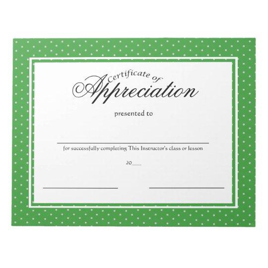 Certificates of Appreciation Notepad