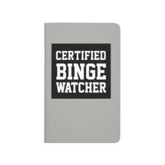 Certified binge watcher black and grey journal