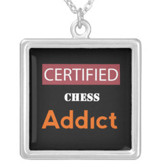 Certified Chess Addict Silver Plated Necklace