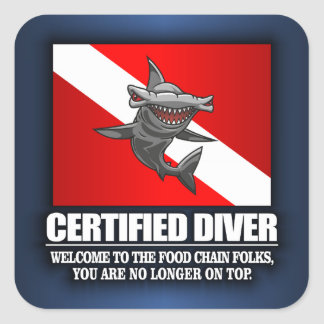 Certified Diver (Food Chain) Square Sticker