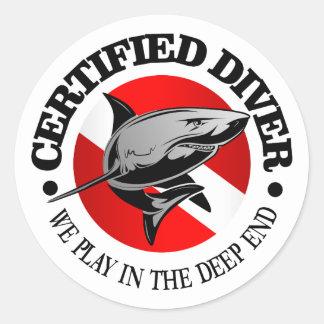 Certified Diver (Shark) Round Sticker