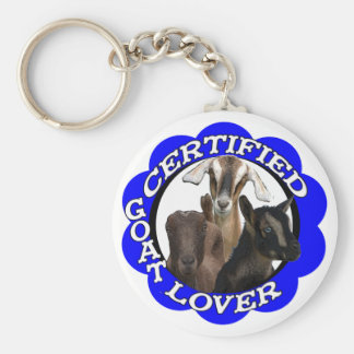 CERTIFIED GOAT LOVER! BASIC ROUND BUTTON KEYCHAIN
