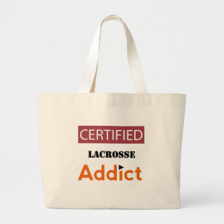 Certified Lacrosse Addict Large Tote Bag