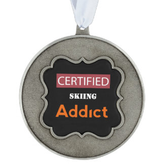 Certified Skiing Addict Scalloped Pewter Ornament