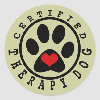 Certified Therapy Dog Classic Round Sticker