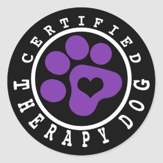Certified Therapy Dog Purple Paw Classic Round Sticker