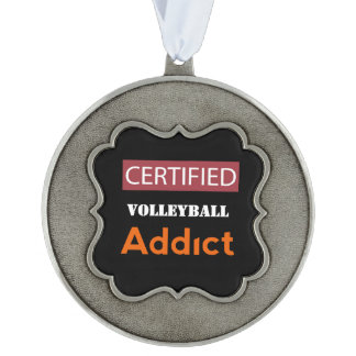 Certified Volleyball Addict Scalloped Pewter Ornament