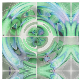 Cerulean Blue and Jade Abstract Collage Fabric