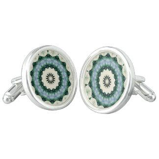 Cerulean Blue and Sacramento Green Mandala Cuff Links