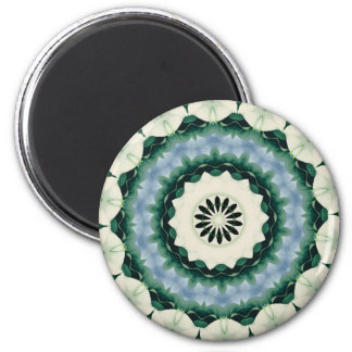 Cerulean Blue and Sacramento Green Mandala Magnet